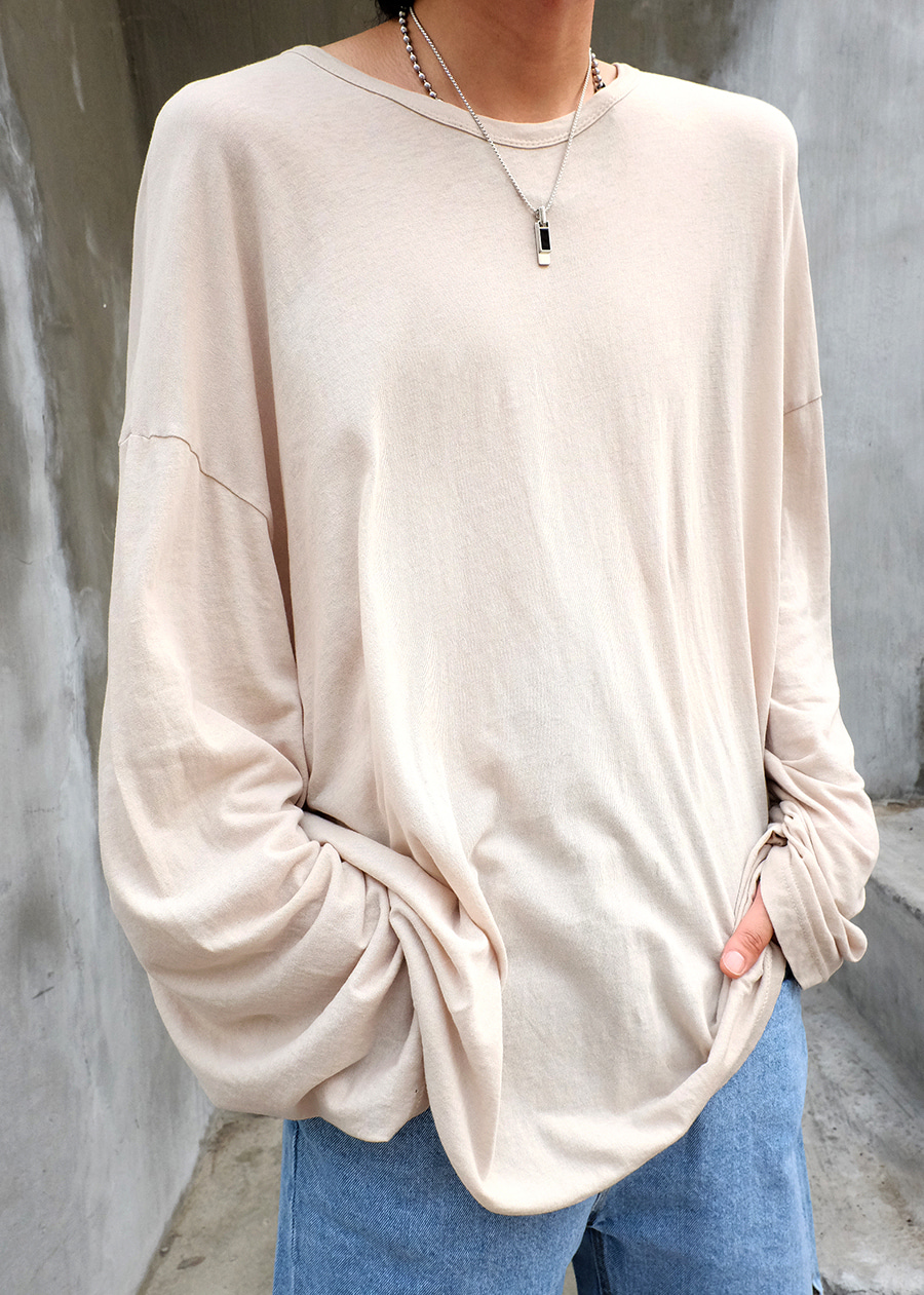 oversize cotton long tee(4 color!)