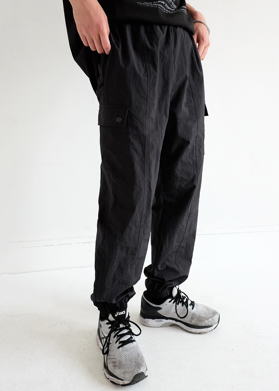 zipper nylon jogger pants(2 color)