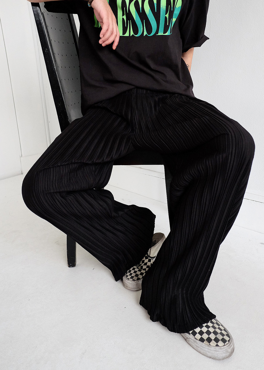 pleats wide pants black