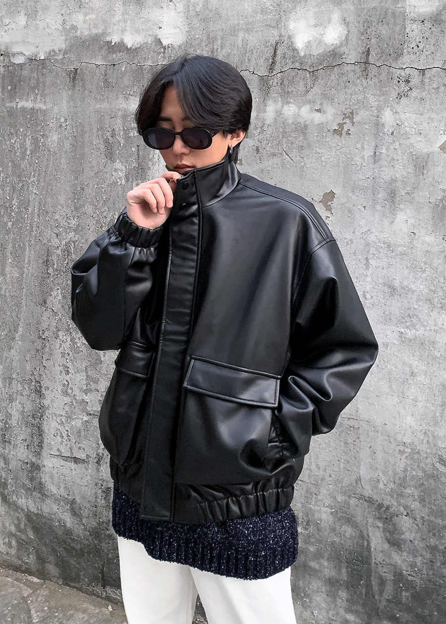 big pocket leather blouson