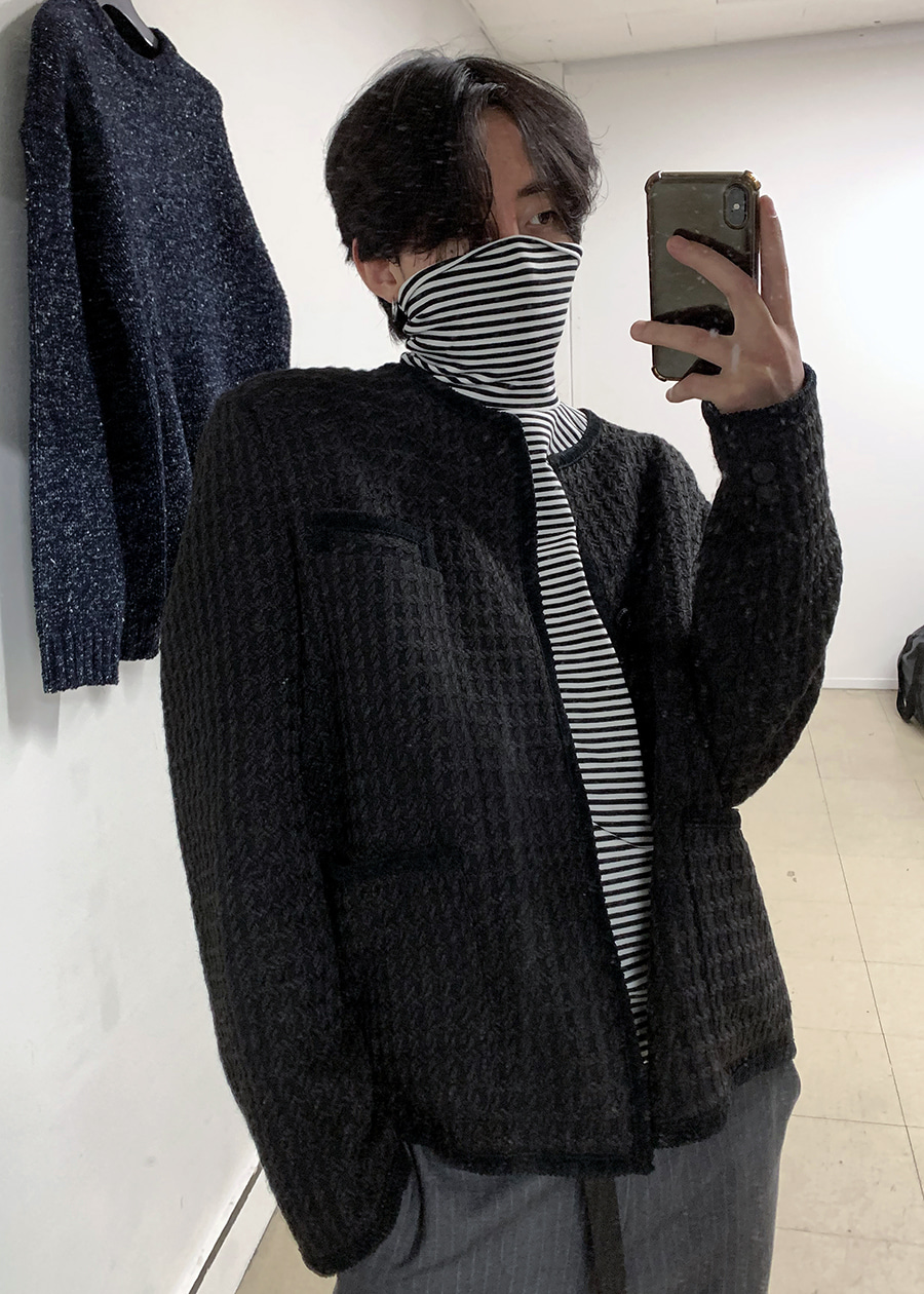 hound check tweed jacket black