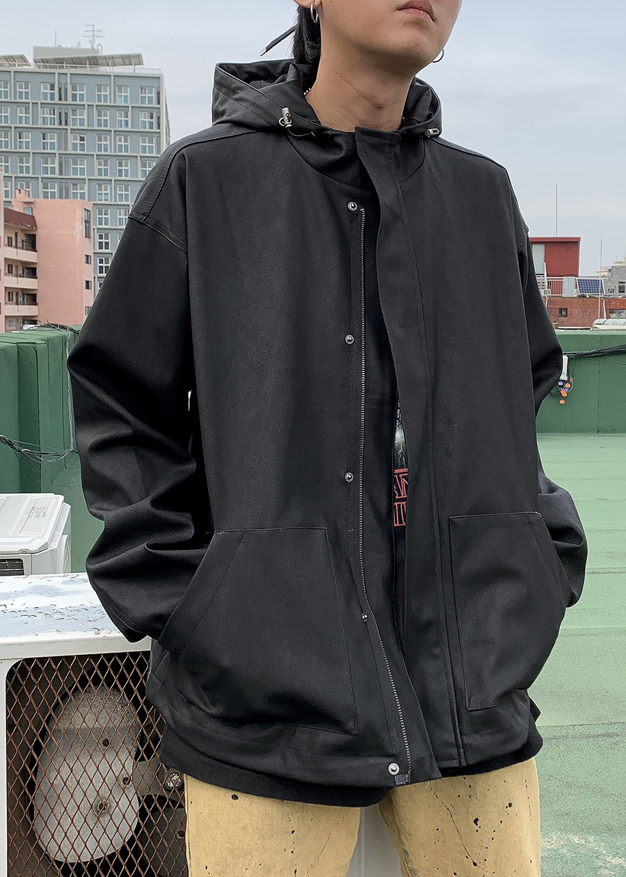 wind hood jacket leather