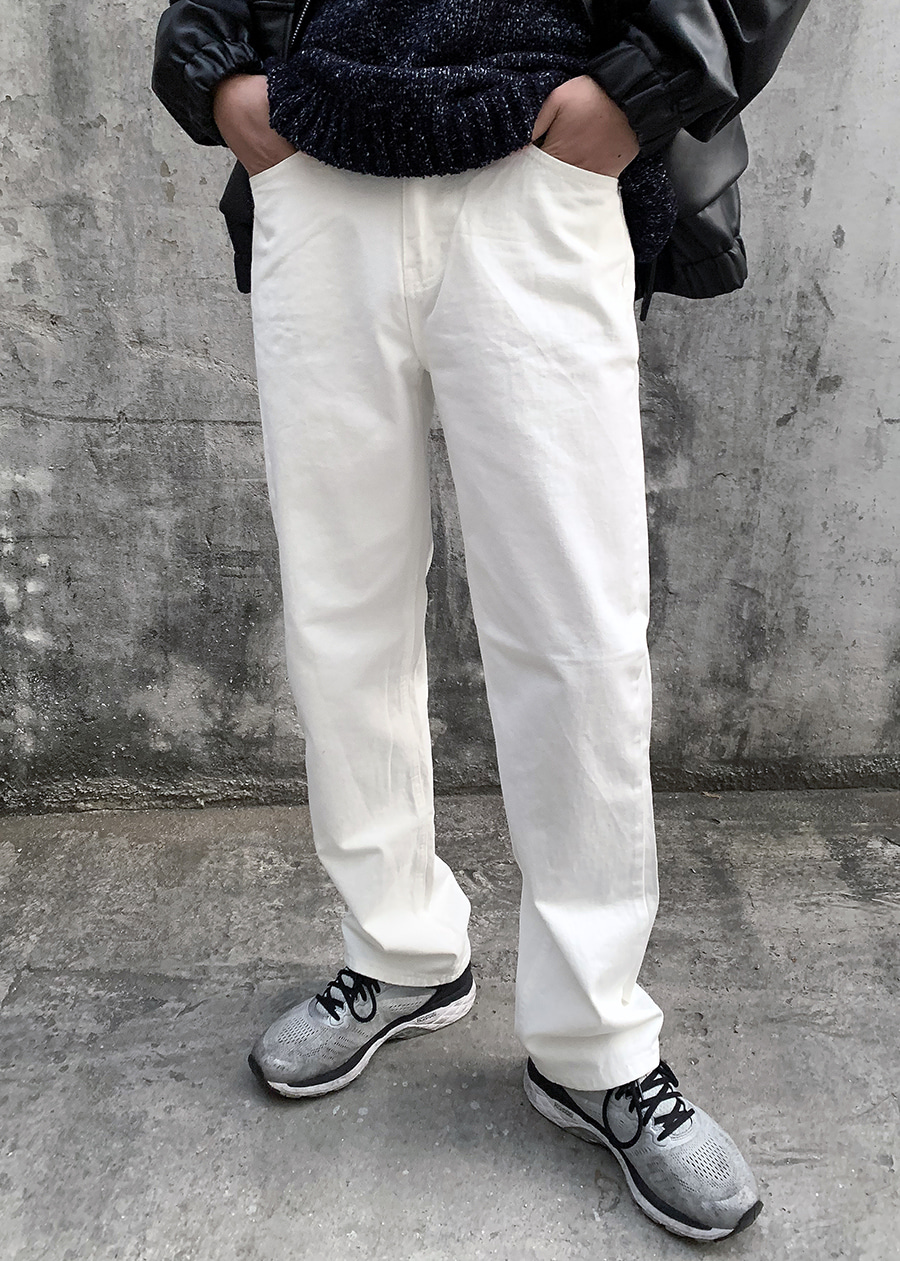regular cotton pants white
