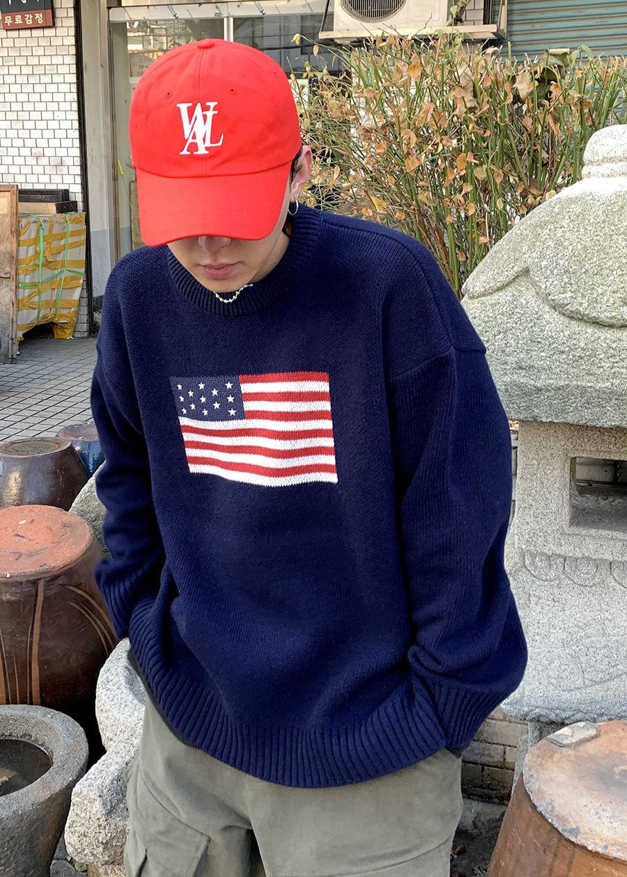 American Flag wool knit(2 color)