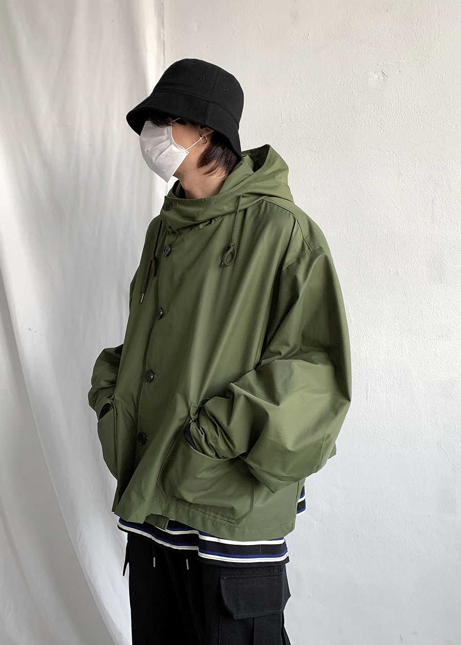 cropped hood short parka(2 color)