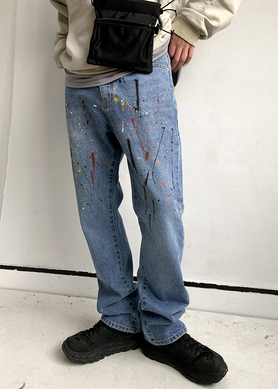 acid painting denim pants