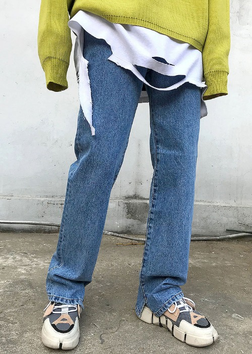 Straight slit point denim(3 color)