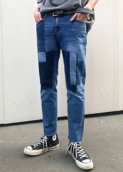 patchwork slim denim jean(1 color)