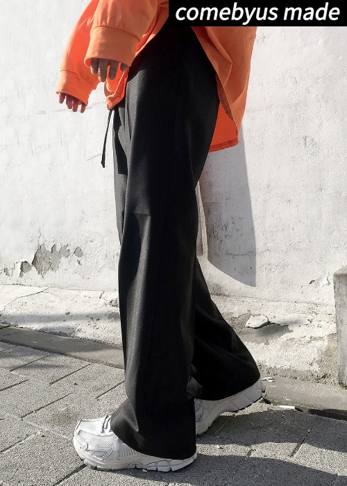 {comebyus made}nudi belt slacks(black !)