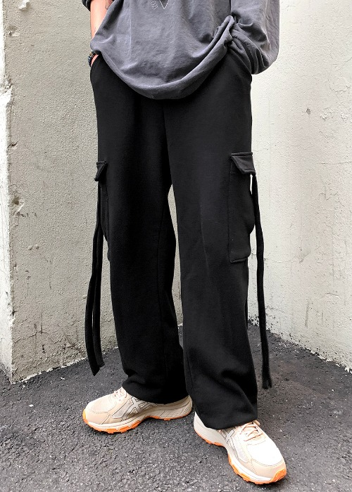strap cotton cargo trouser(3 color)