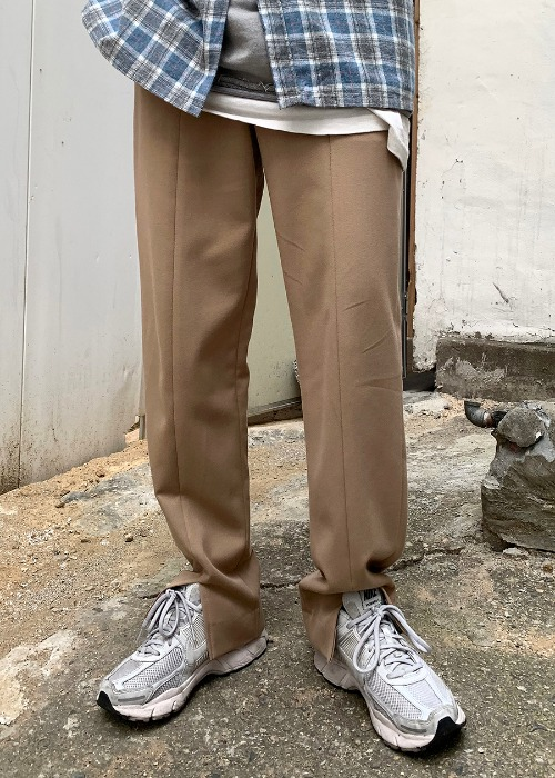 front slit slacks(beige, black!)