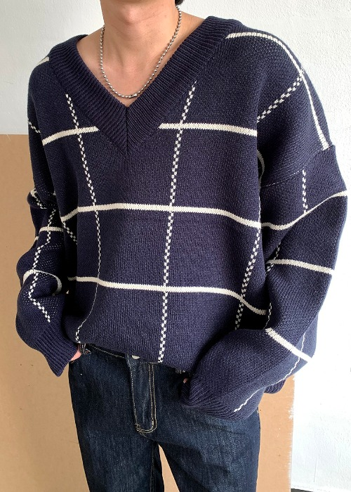 V-neck check knit(4 color)