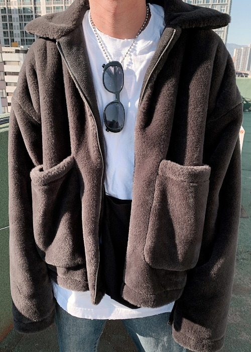 collar fur jacket(2 color)