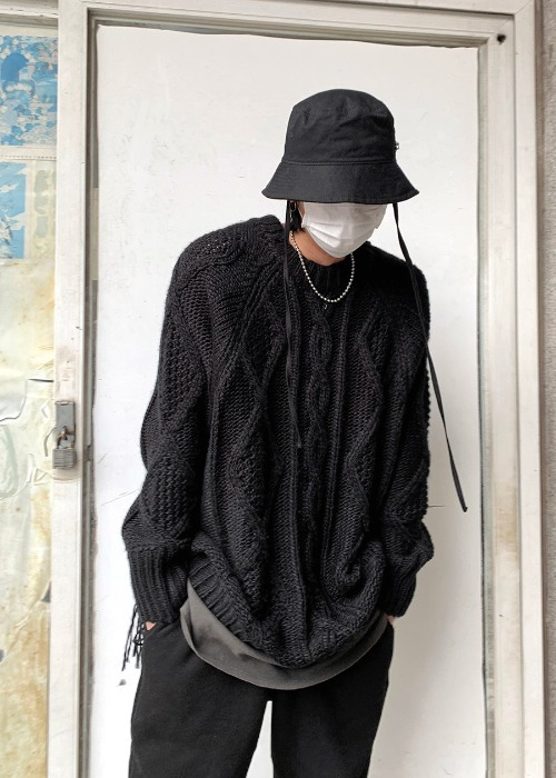 terry wool cable knit(2 color)