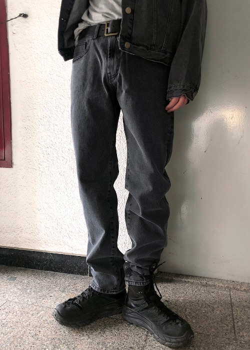 set-up black denim pants