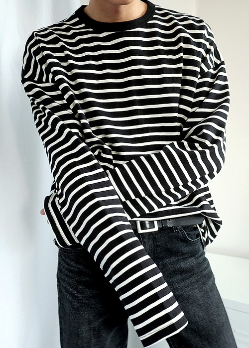 Long sleeve stripe tee(2 color)