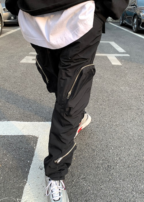 solid pocket tech pants(Black !)