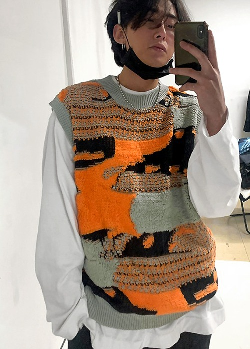 unique knit vest(2 color)