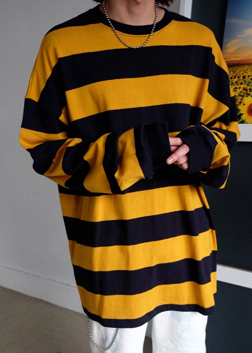 big stripe oversize long tee(4 color)
